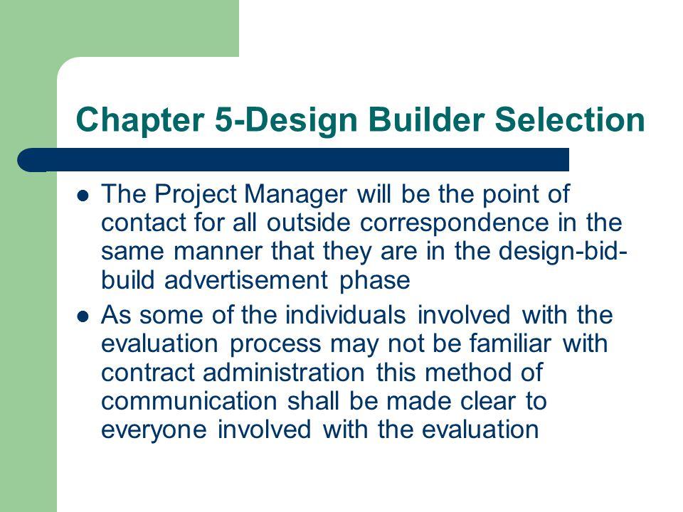 Chapter 5-Design Builder Selection