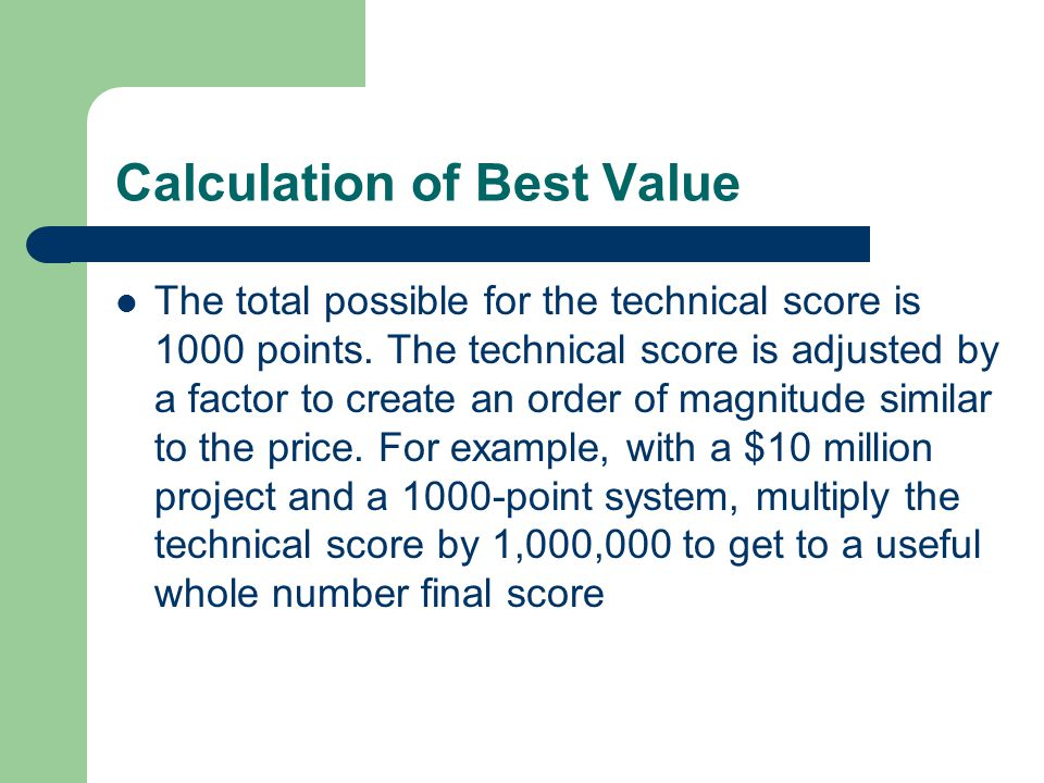 Calculation of Best Value