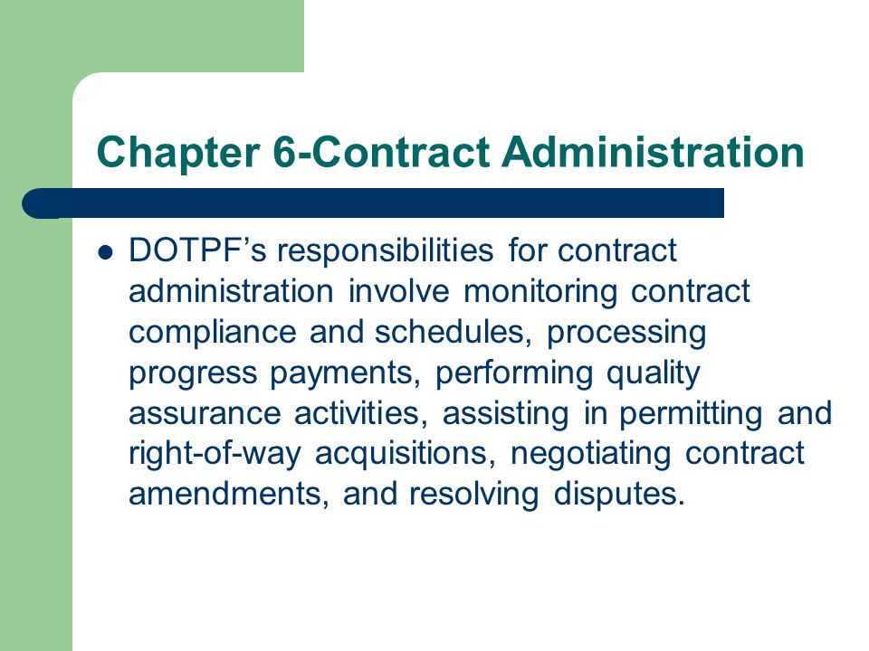 Chapter 6-Contract Administration
