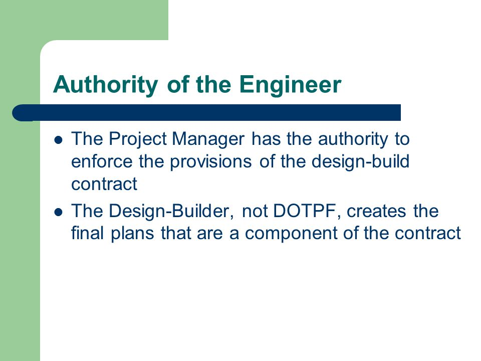 Authority of the Engineer