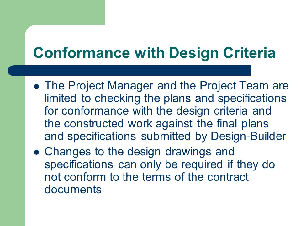 Conformance with Design Criteria
