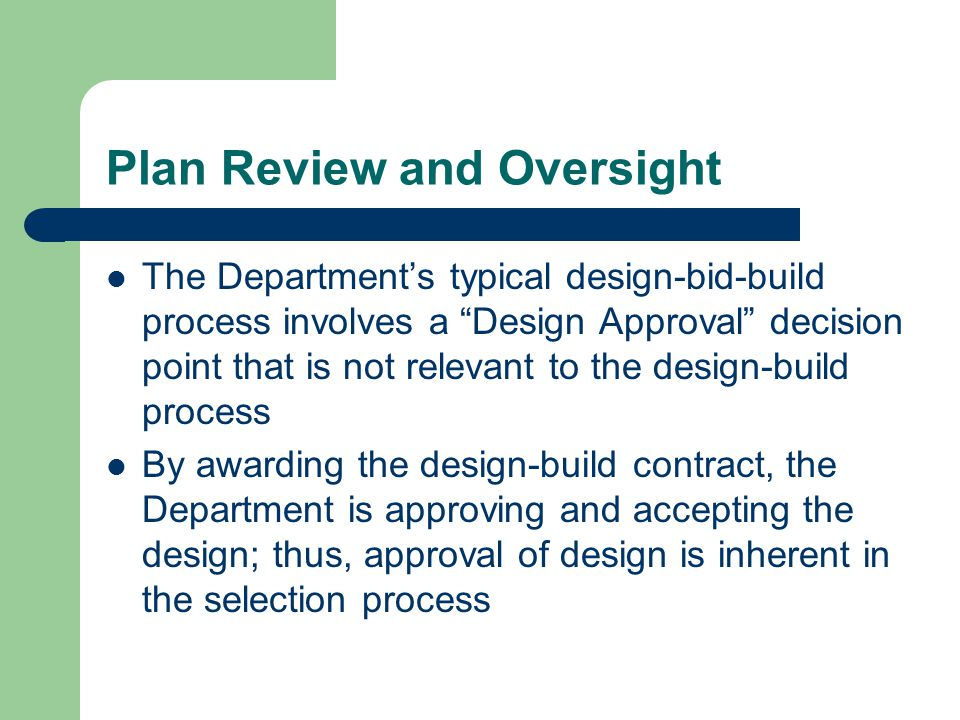 Plan Review and Oversight