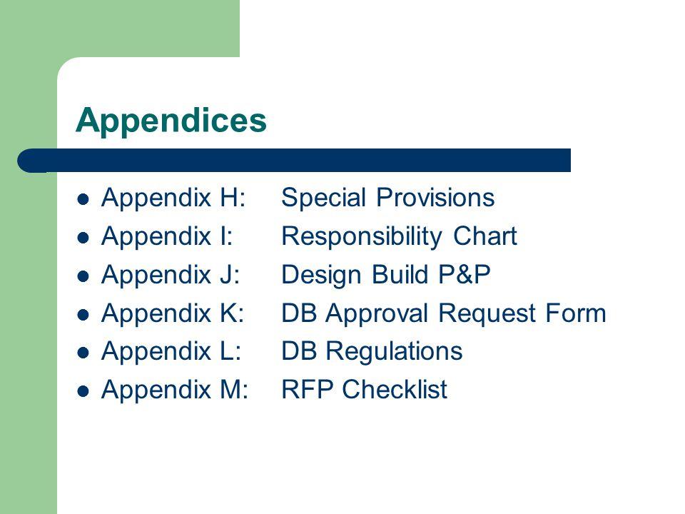 Appendices Appendix H: Special Provisions