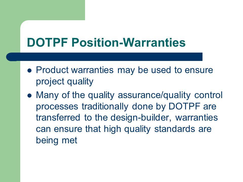 DOTPF Position-Warranties