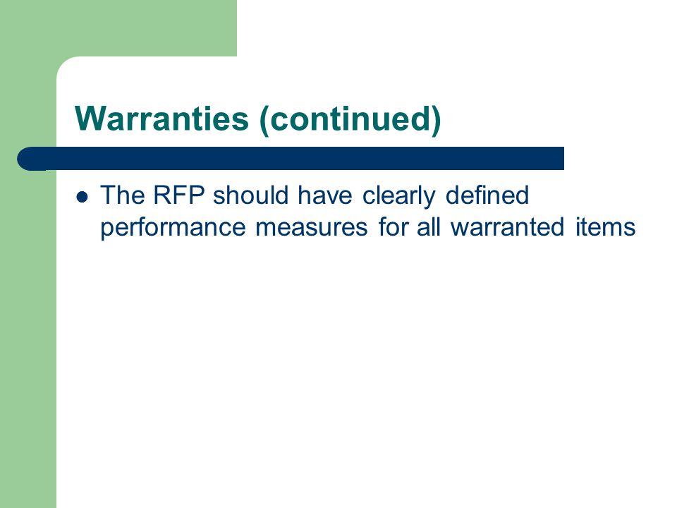 Warranties (continued)