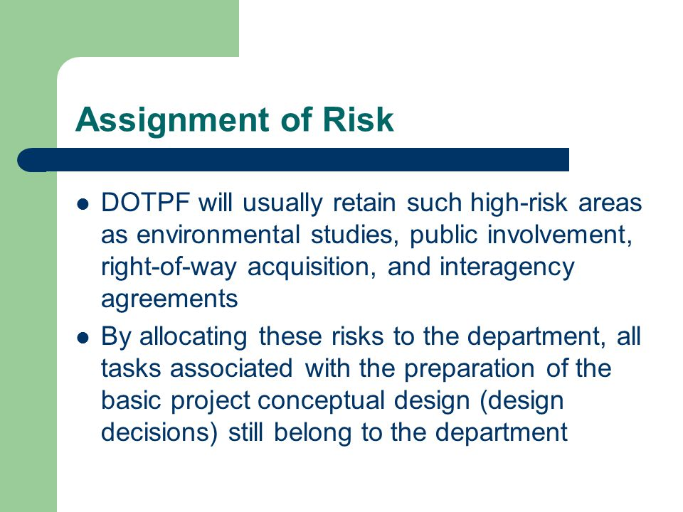 Assignment of Risk
