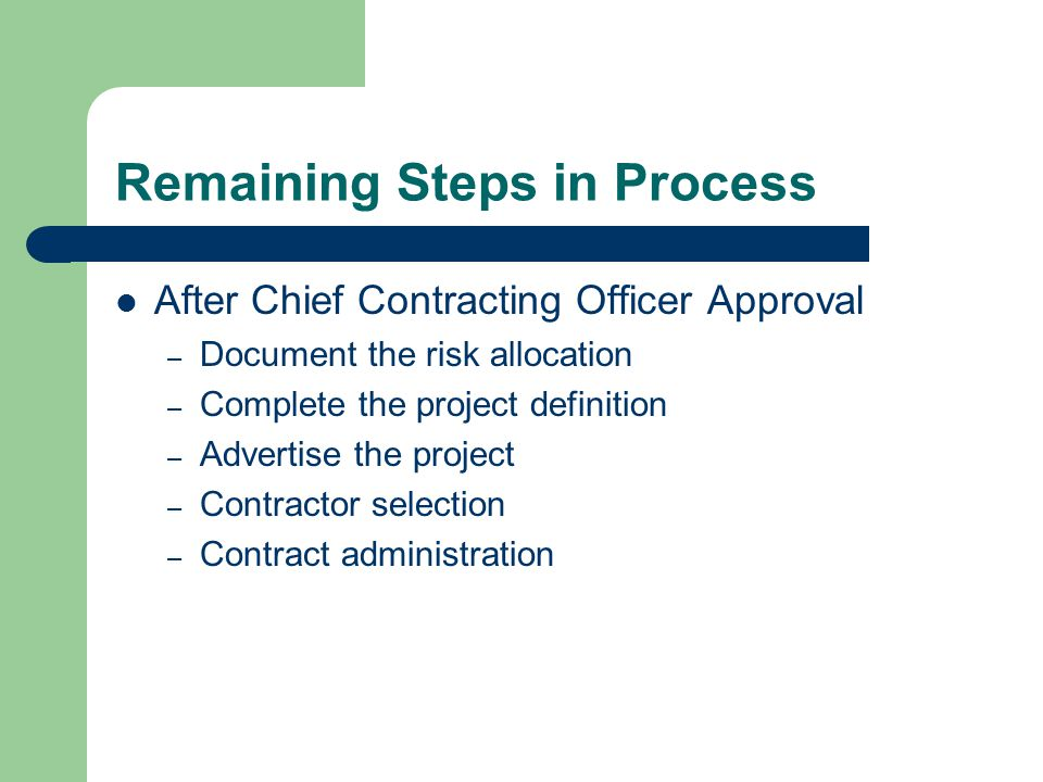 Remaining Steps in Process