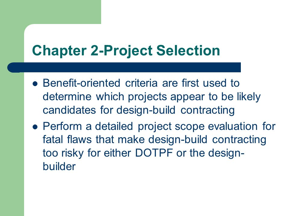 Chapter 2-Project Selection