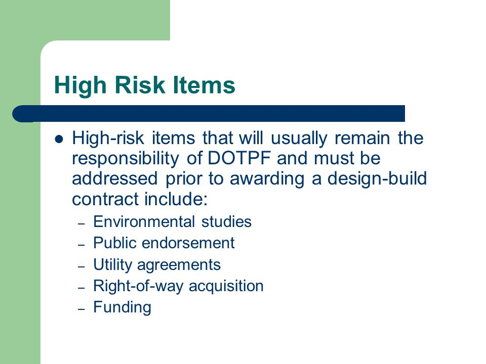 High Risk Items