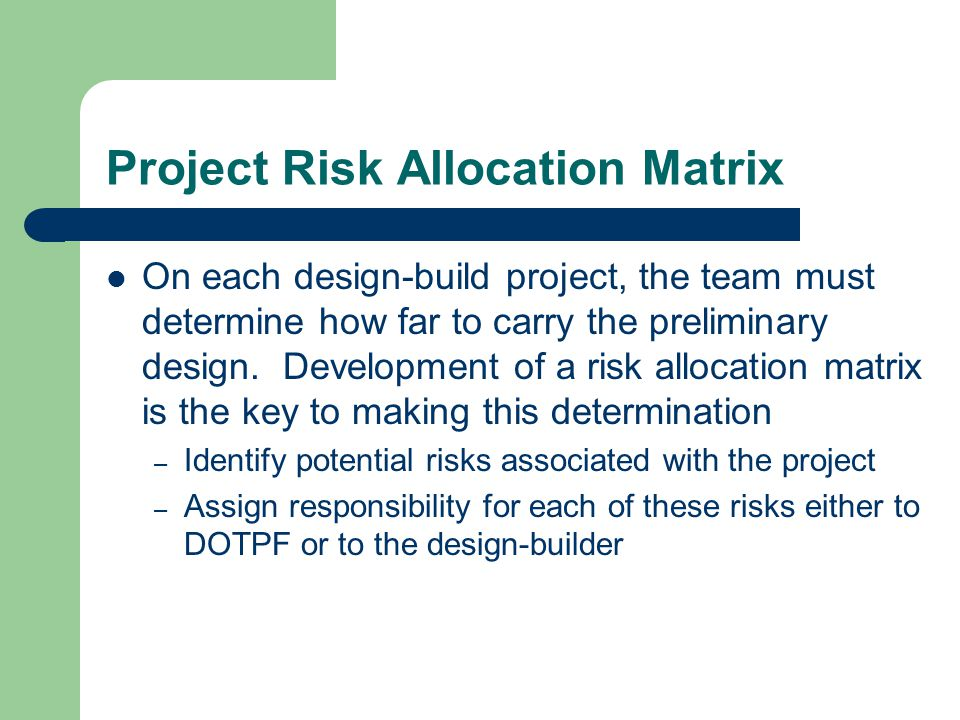 Project Risk Allocation Matrix