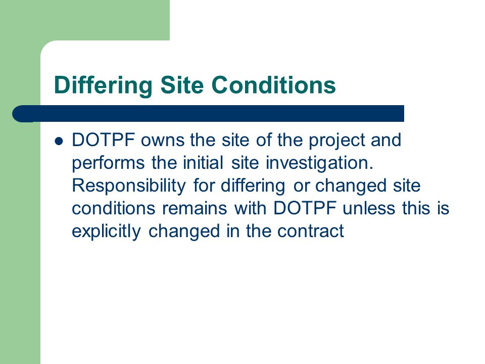 Differing Site Conditions