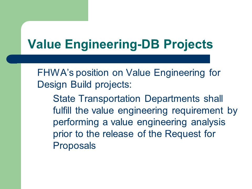 Value Engineering-DB Projects