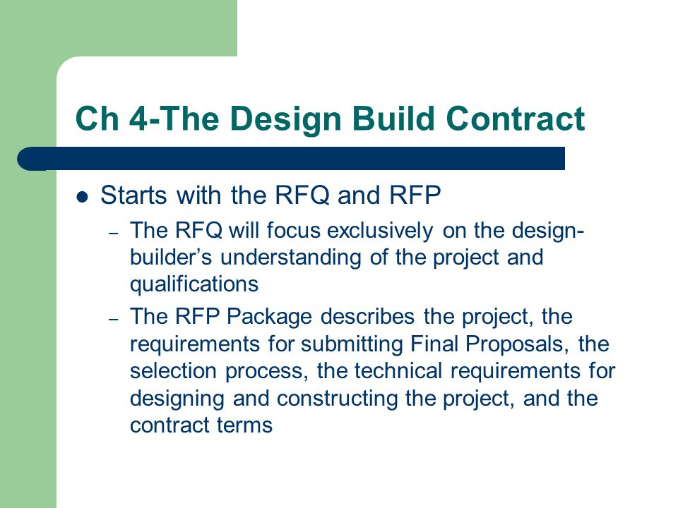 Ch 4-The Design Build Contract