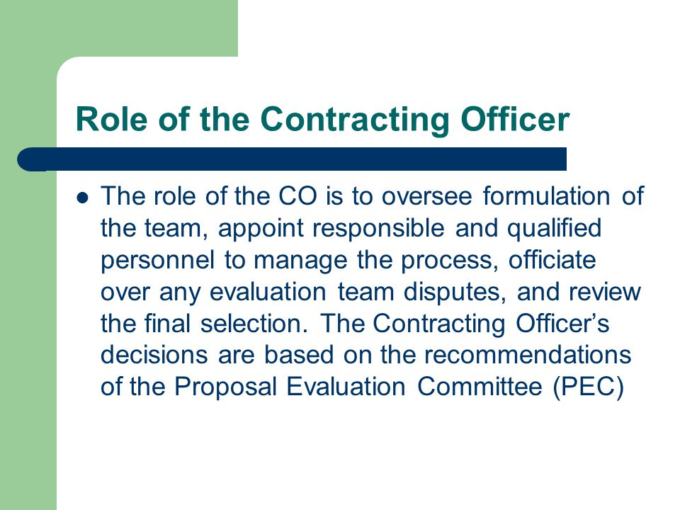 Role of the Contracting Officer