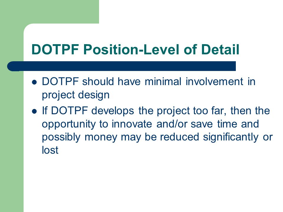 DOTPF Position-Level of Detail