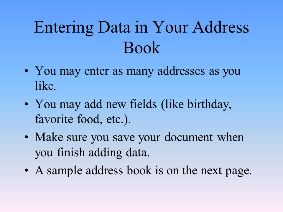 Entering Data in Your Address Book