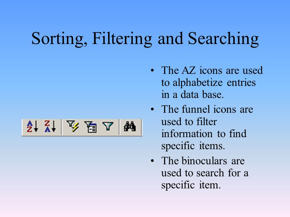 Sorting, Filtering and Searching