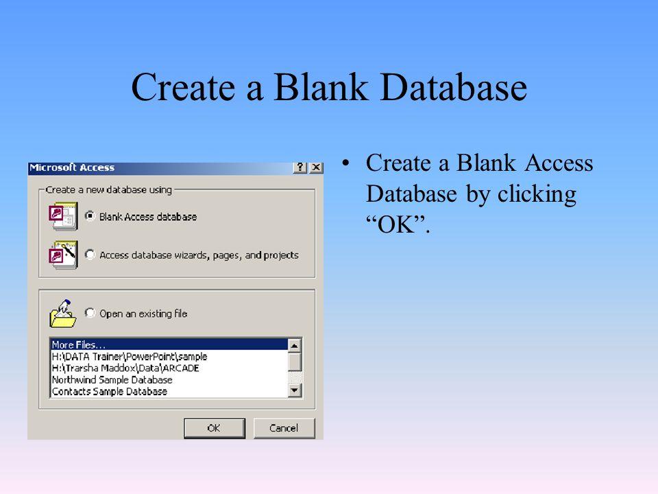 Create a Blank Database