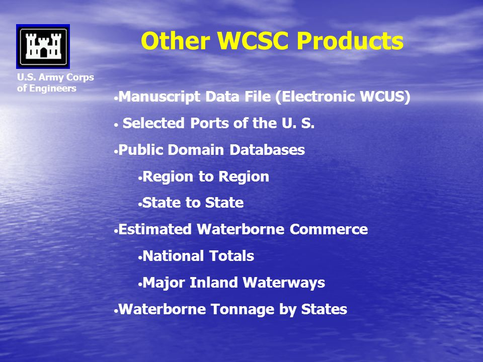 Other WCSC Products Manuscript Data File (Electronic WCUS)