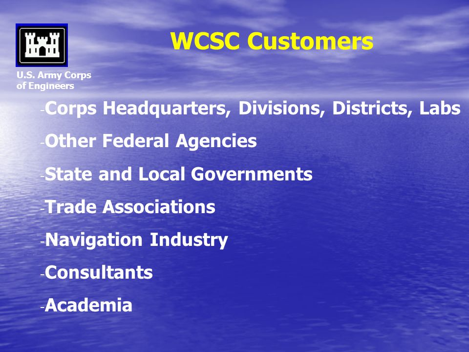 WCSC Customers Corps Headquarters, Divisions, Districts, Labs