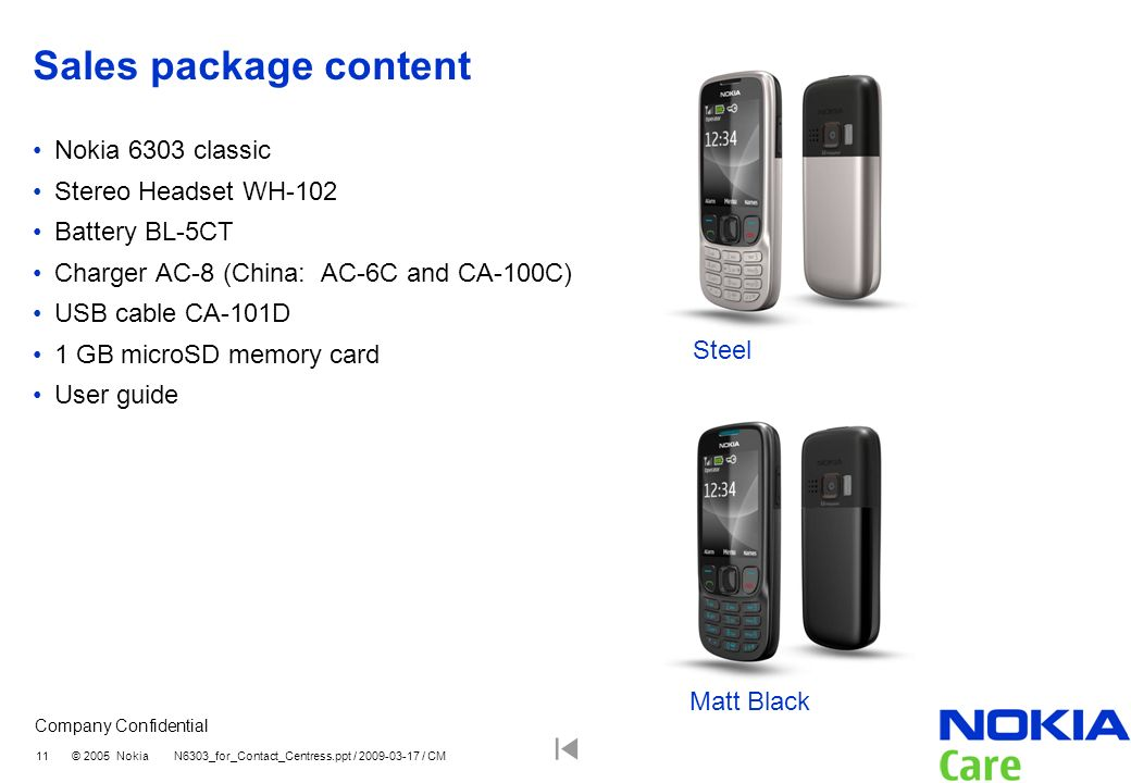 Sales package content Nokia 6303 classic Stereo Headset WH-102