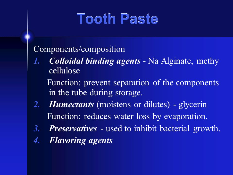 Tooth Paste Components/composition