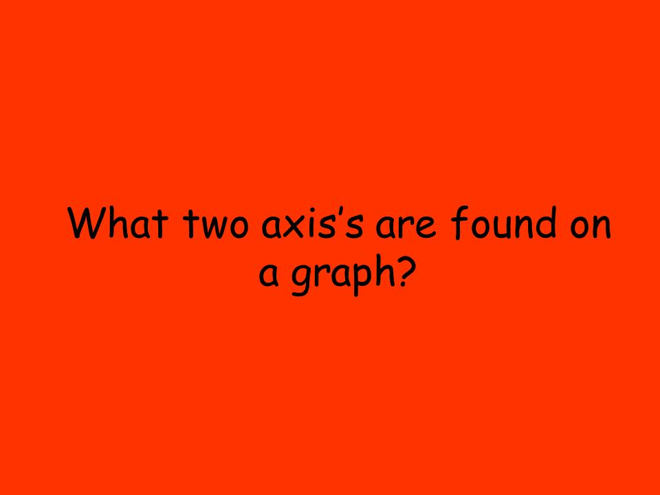 What two axis's are found on a graph