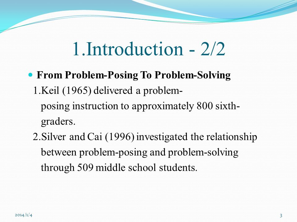 1.Introduction - 2/2 From Problem-Posing To Problem-Solving