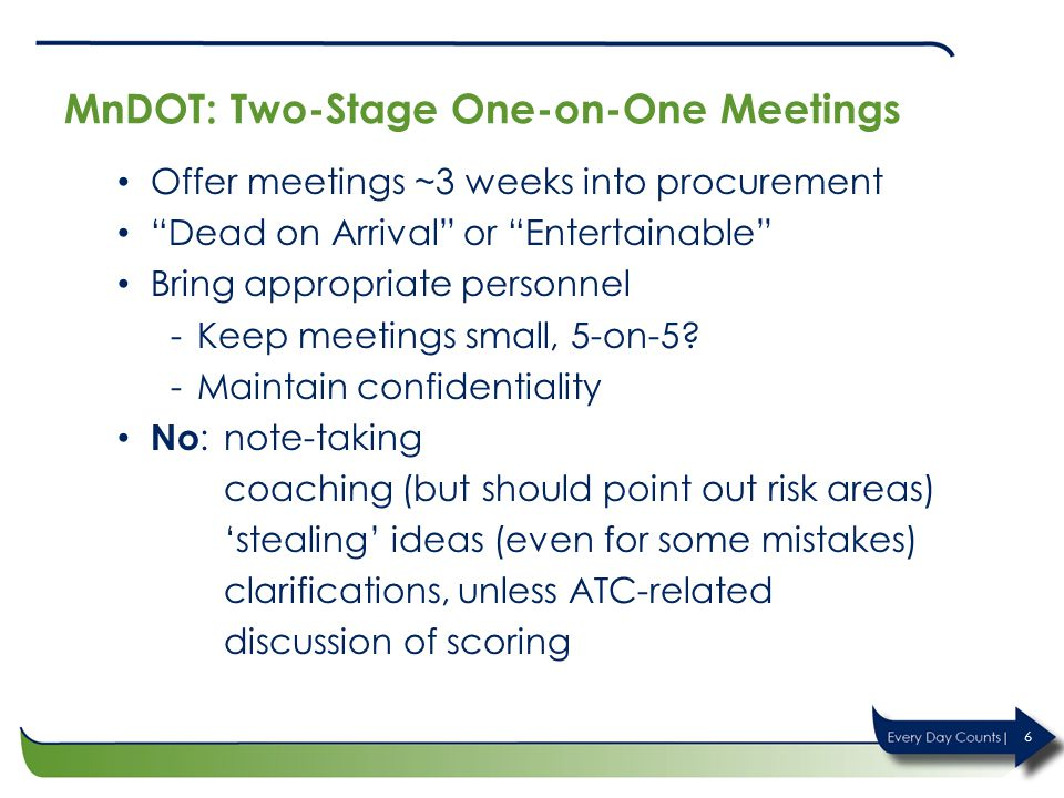 MnDOT: Two-Stage One-on-One Meetings