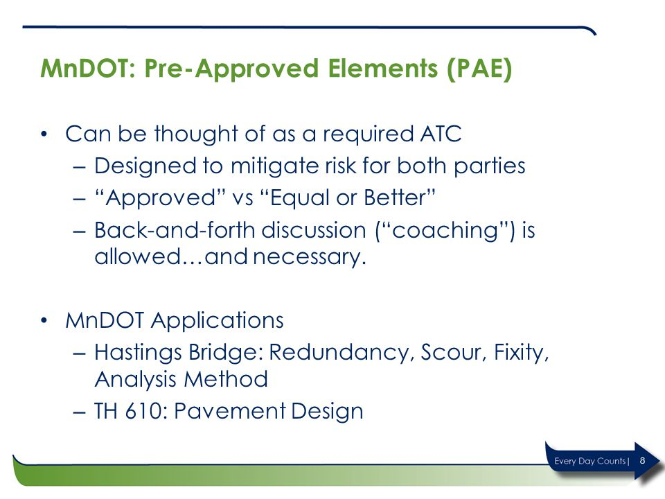 MnDOT: Pre-Approved Elements (PAE)