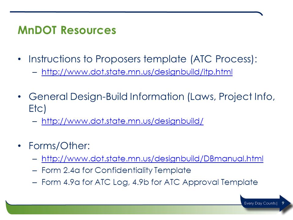 MnDOT Resources Instructions to Proposers template (ATC Process):
