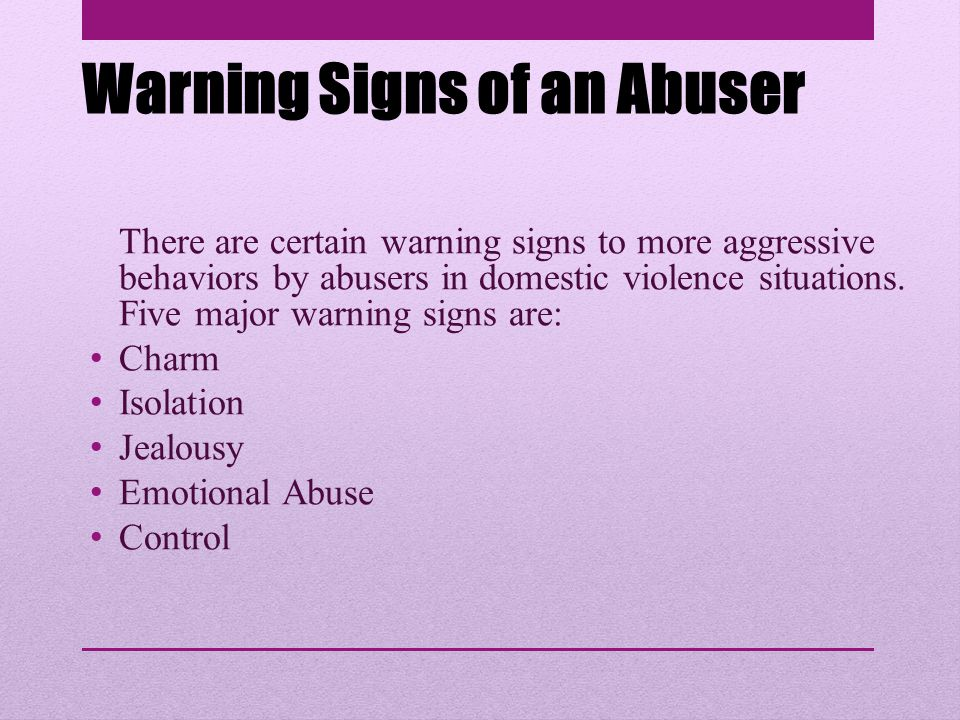 Warning Signs of an Abuser