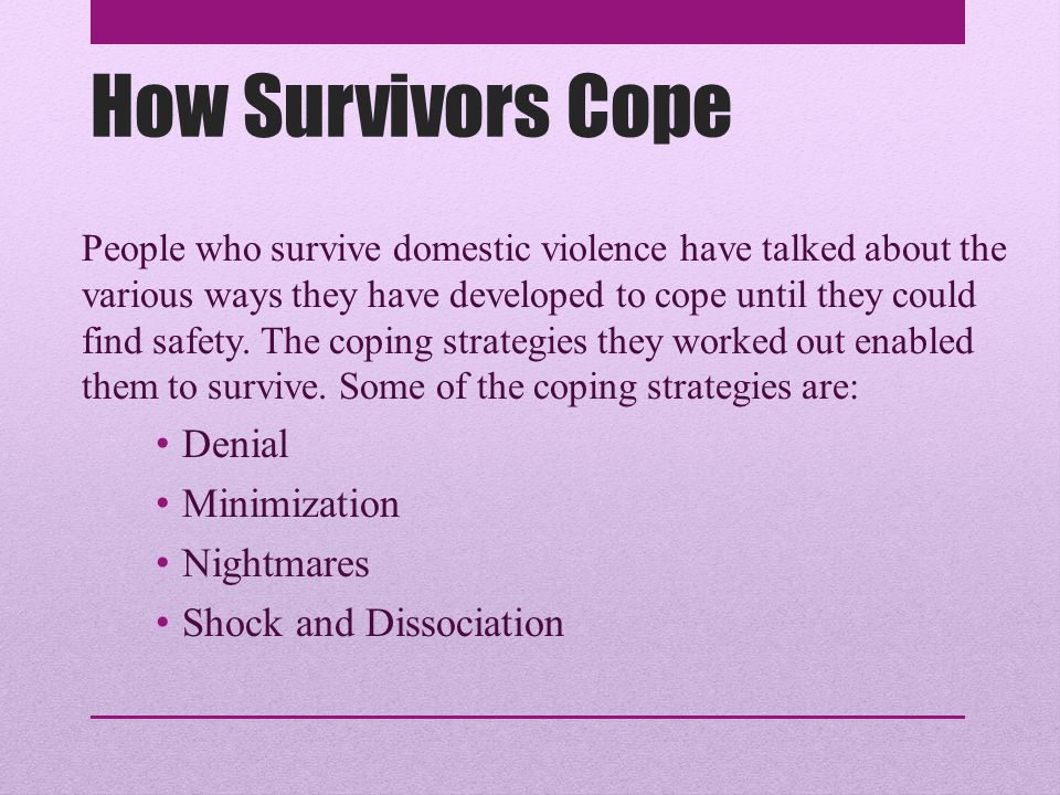 How Survivors Cope Denial Minimization Nightmares