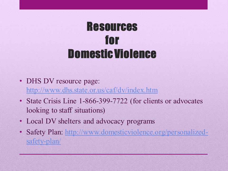 Resources for Domestic Violence