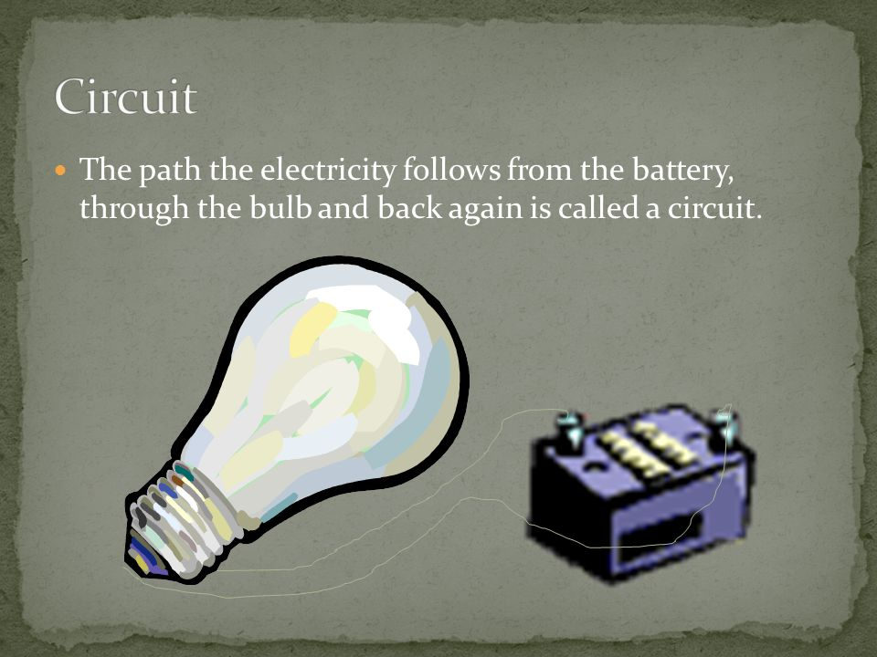 Circuit The path the electricity follows from the battery, through the bulb and back again is called a circuit.