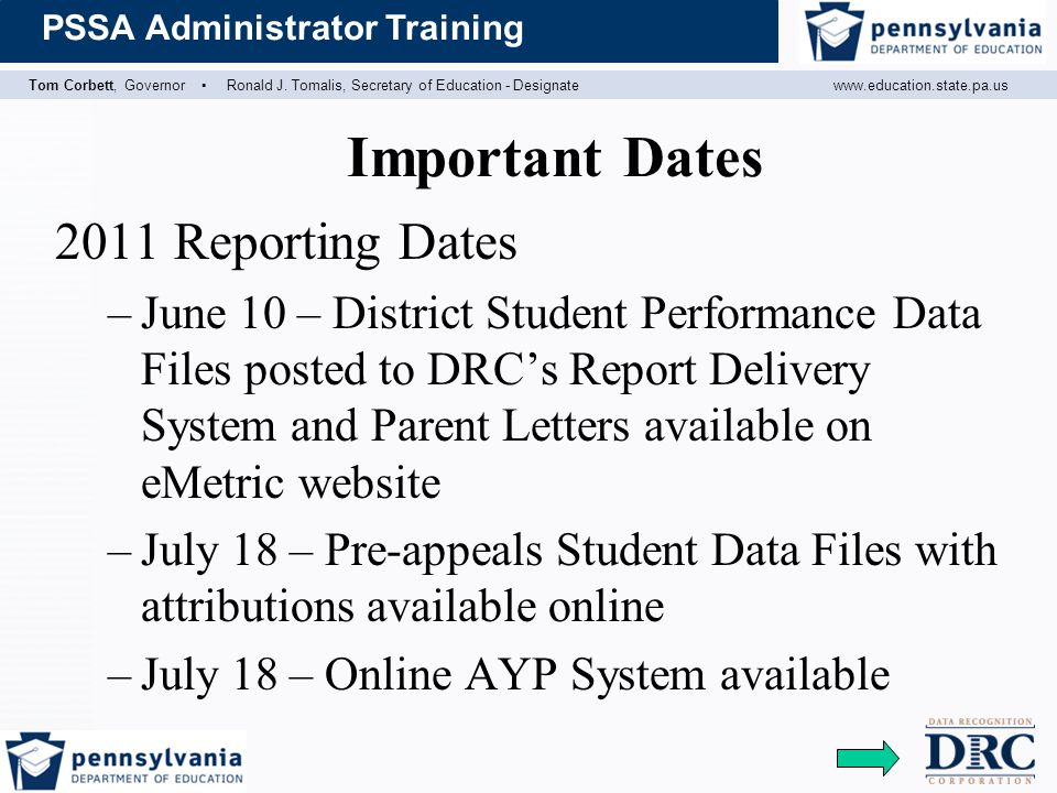 Important Dates 2011 Reporting Dates