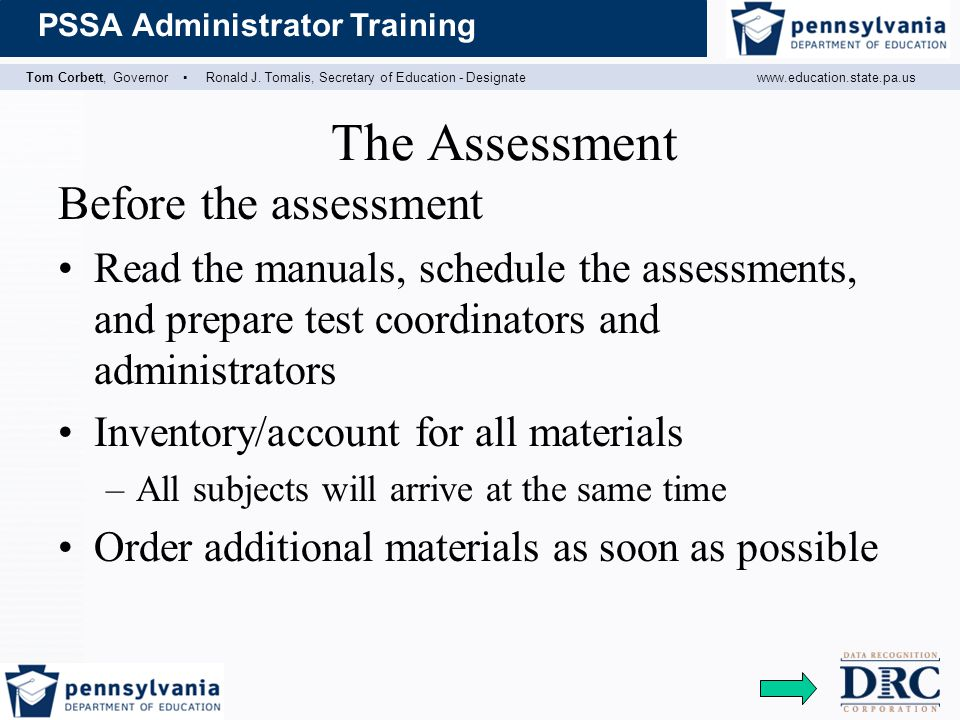 The Assessment Before the assessment