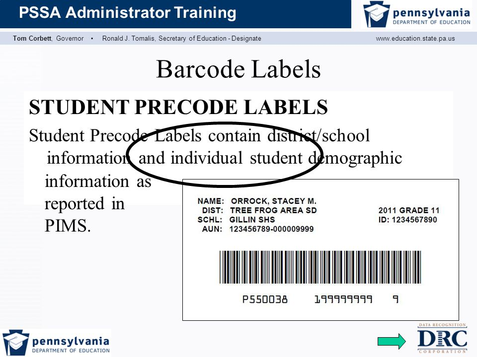 Barcode Labels STUDENT PRECODE LABELS