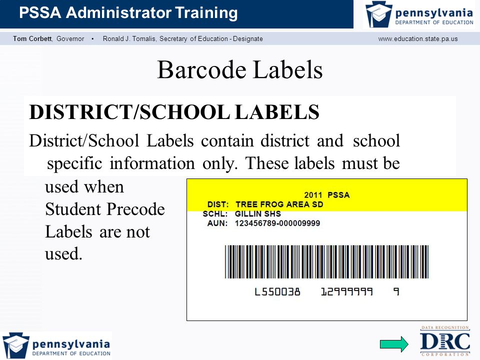 Barcode Labels DISTRICT/SCHOOL LABELS