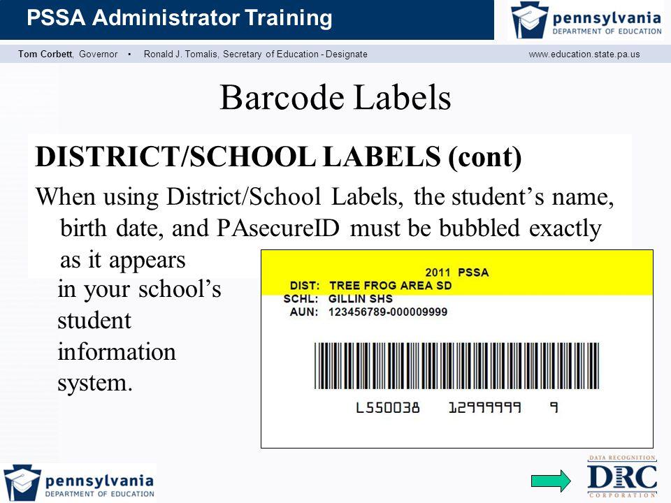 Barcode Labels DISTRICT/SCHOOL LABELS (cont)