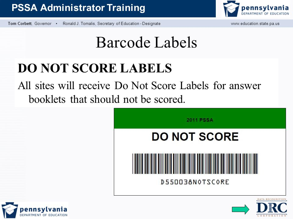 Barcode Labels DO NOT SCORE LABELS