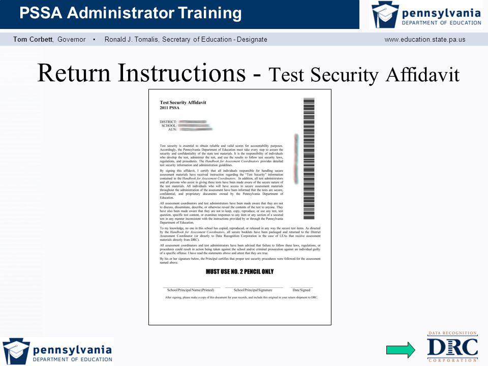 Return Instructions - Test Security Affidavit