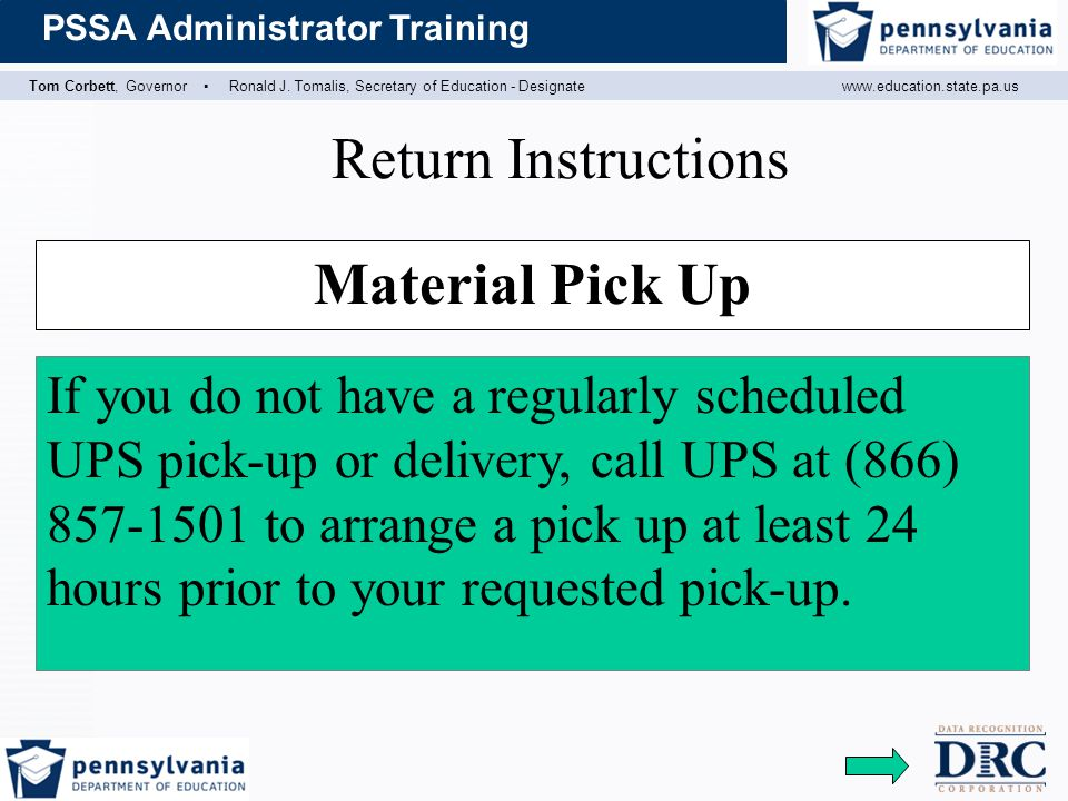 Return Instructions Material Pick Up