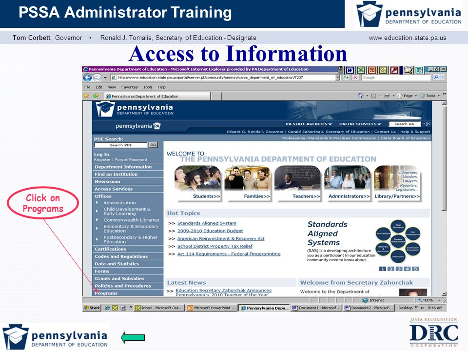 Access to Information Click on Programs