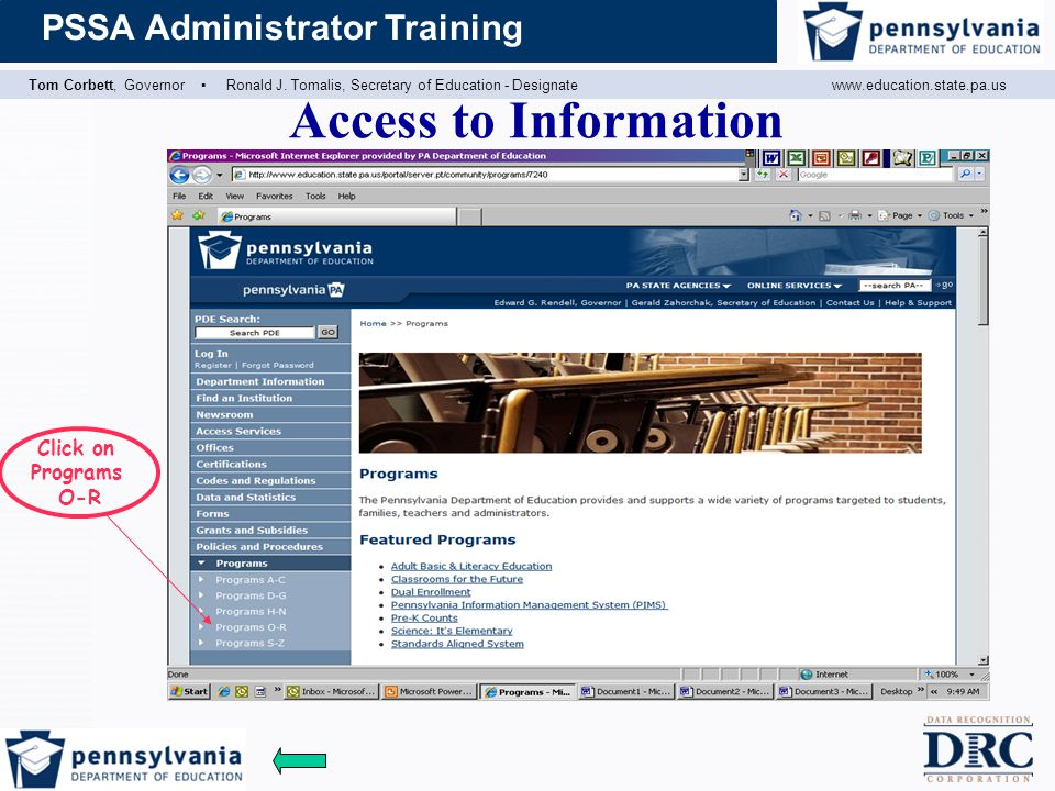Access to Information Click on Programs O-R