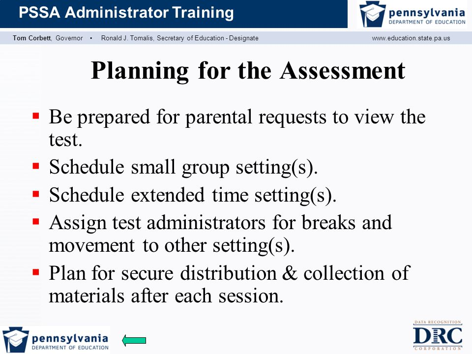 Planning for the Assessment