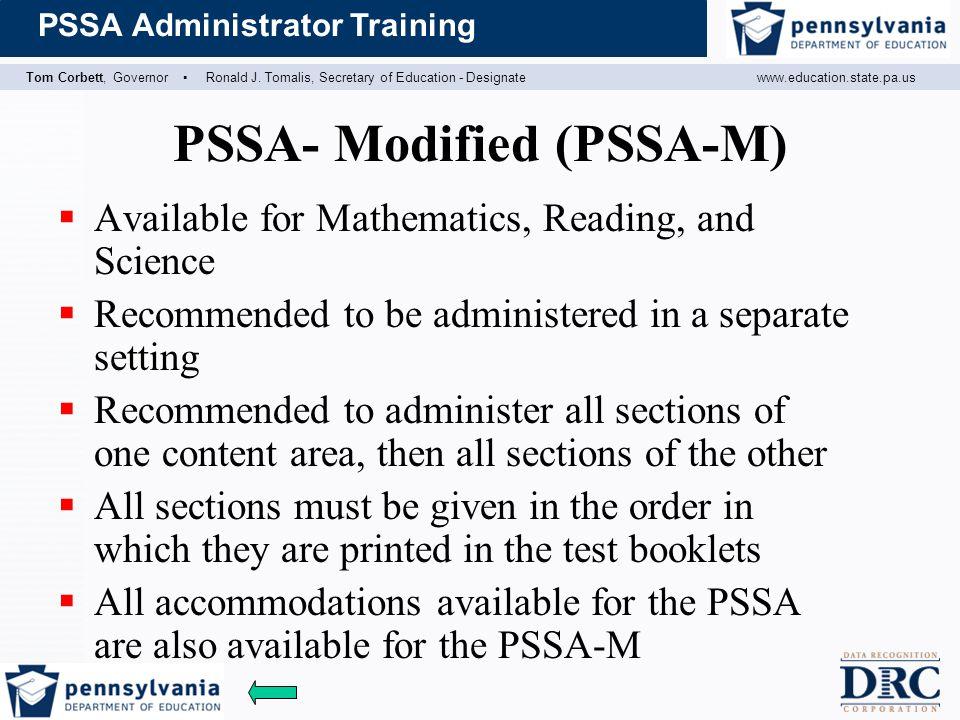 PSSA- Modified (PSSA-M)