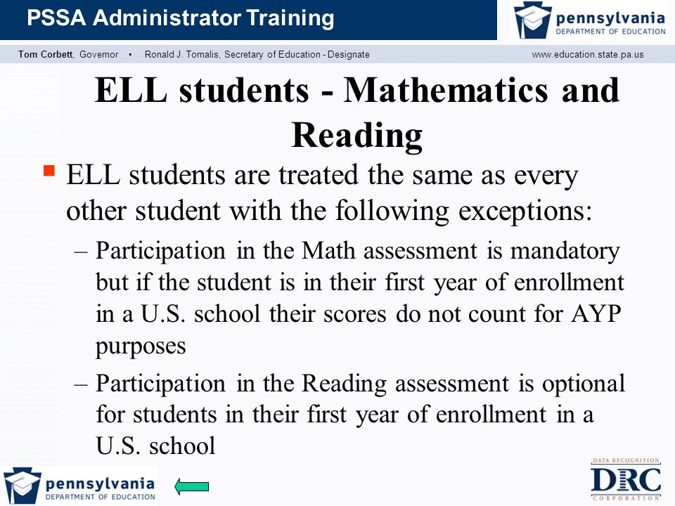 ELL students - Mathematics and Reading