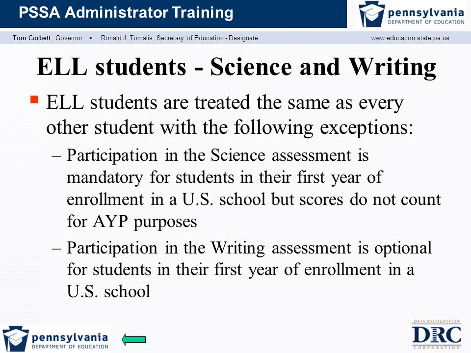 ELL students - Science and Writing