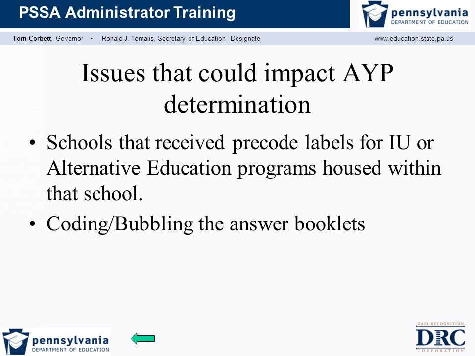Issues that could impact AYP determination
